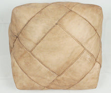 Load image into Gallery viewer, Leather Pouf- Natural Square
