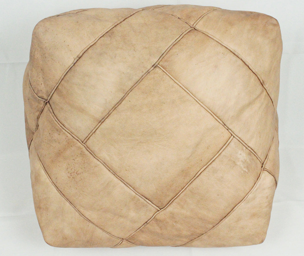 Leather Pouf- Natural Square