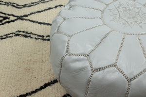 Leather Pouf- Round Light Grey with Light Grey Stitching