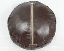 Load image into Gallery viewer, Leather Pouf- Round Dark Brown with Brown Stitching