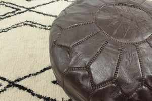 Leather Pouf- Round Dark Brown with Brown Stitching