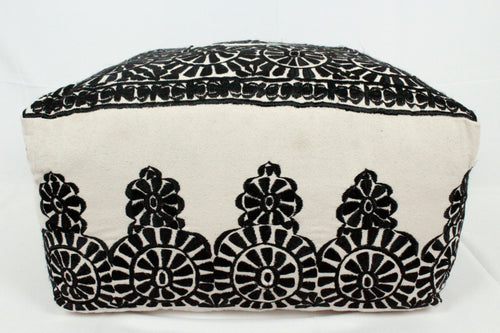 Large Embroidered Pouf- Black