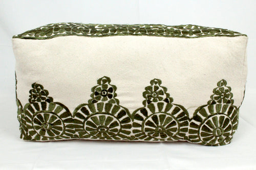 Large Embroidered Pouf- Olive Green