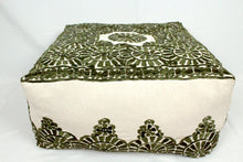 Load image into Gallery viewer, Large Embroidered Pouf- Olive Green