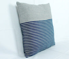 Load image into Gallery viewer, Large Square Throw Pillow- Grey with Blue stripes