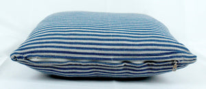 Large Square Throw Pillow- Grey with Blue stripes