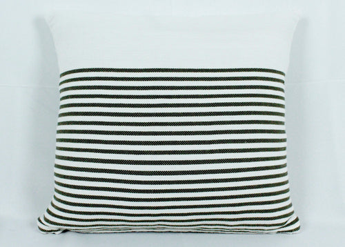 Medium Square Throw Pillow- White with Green stripes