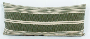 Small Lumbar Pillow- Green and Beige