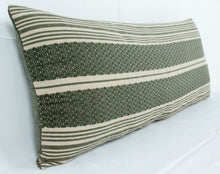 Load image into Gallery viewer, Small Lumbar Pillow- Green and Beige