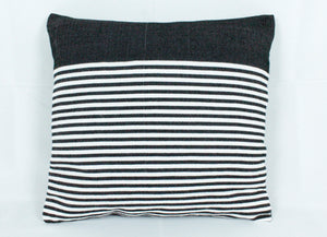 Medium Square Throw Pillow- Black with White stripes
