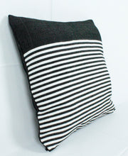 Load image into Gallery viewer, Medium Square Throw Pillow- Black with White stripes