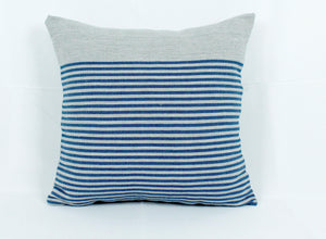 Small Square Throw Pillow- Grey with Blue Stripes