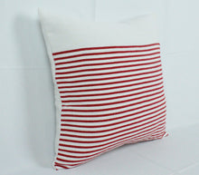 Load image into Gallery viewer, Small Square Throw Pillow- White with Red Stripes