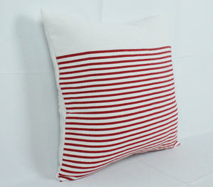 Small Square Throw Pillow- White with Red Stripes
