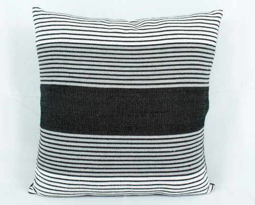 Large Square Throw Pillow- Grey, Black, White stripes