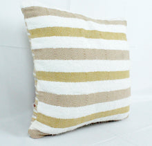 Load image into Gallery viewer, Small Square Throw Pillow-White, Beige and Tan Stripes