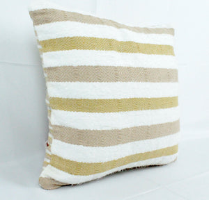 Small Square Throw Pillow-White, Beige and Tan Stripes