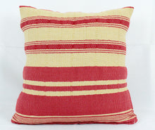 Load image into Gallery viewer, Small Square Throw Pillow- Tan and Red Stripes