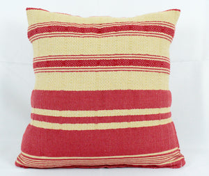 Small Square Throw Pillow- Tan and Red Stripes