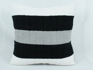 Small Square Throw Pillow- Black, White and Grey Stripes