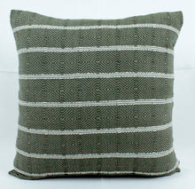 Load image into Gallery viewer, Small Square Throw Pillow- Green Stripes