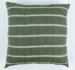 Small Square Throw Pillow- Green Stripes