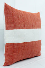 Load image into Gallery viewer, Small Square Throw Pillow- Orange with White Center Stripe
