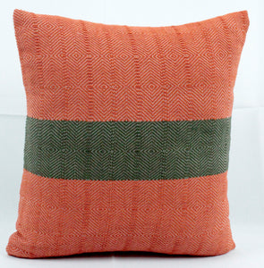 Small Square Throw Pillow- Orange with Green Center