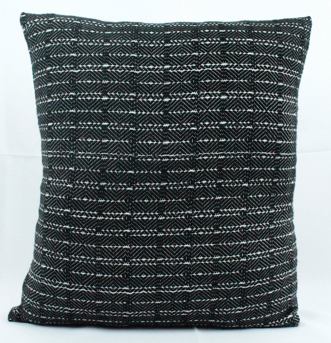 Small Square Throw Pillow- Black Face with White back