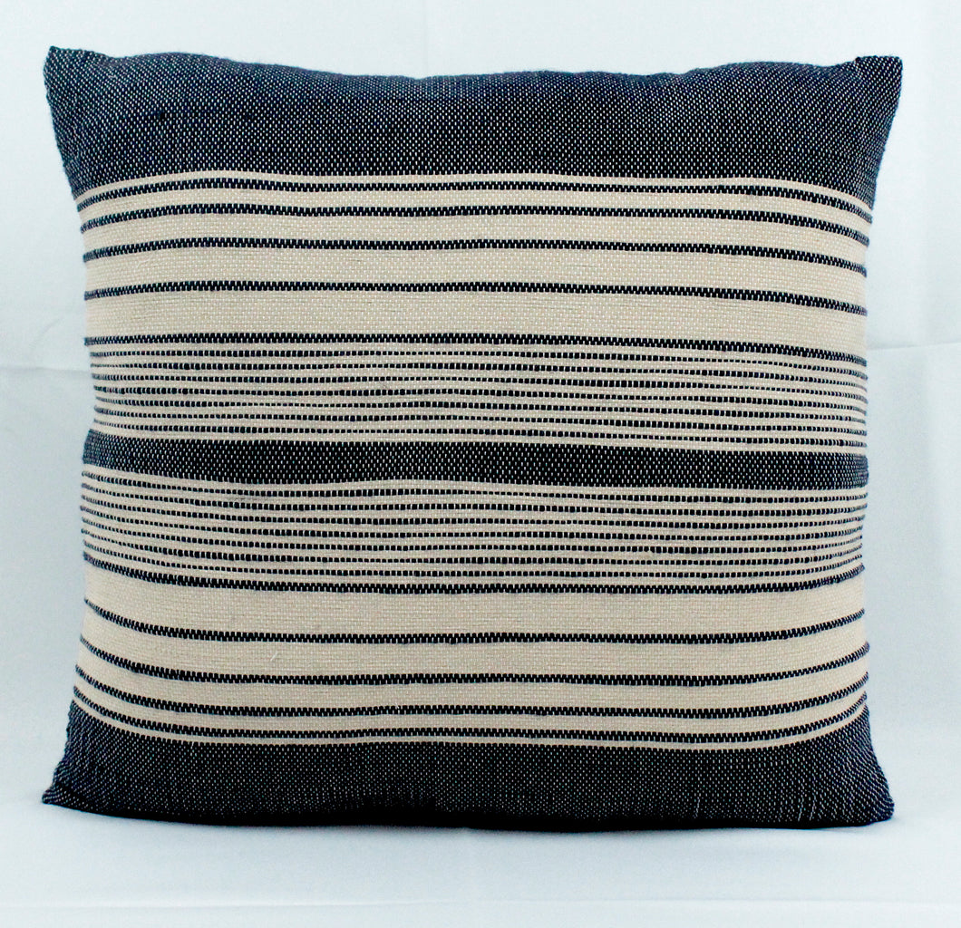 Medium Square Throw Pillow- Blue and Beige Stripes