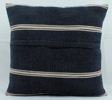 Load image into Gallery viewer, Medium Square Throw Pillow- Blue and Beige Stripes
