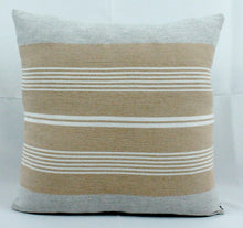 Load image into Gallery viewer, Medium Square Throw Pillow- White and Beige Stripes