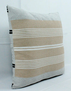 Medium Square Throw Pillow- White and Beige Stripes