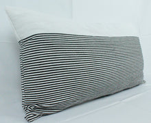 Load image into Gallery viewer, Large Lumbar Pillow- White with small Black stripes