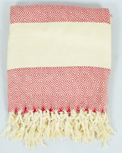 Load image into Gallery viewer, Oversized Scarf- White Base, Red with White Stripe