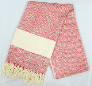 Oversized Scarf- White Base, Red with White Stripe