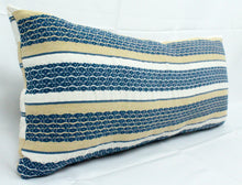 Load image into Gallery viewer, Small Lumbar Pillow- Blue, Tan and White