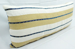 Small Lumbar Pillow- Blue, Tan and White