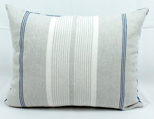 Rectangular Throw Pillow- Grey, Blue and White Stripes