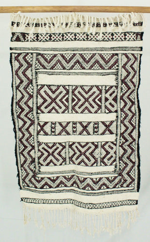Maslouhi Original Accent Rug- Small Black, White and Maroon