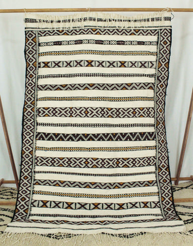 Maslouhi Original Area Rug- Large Black, Yellow, Maroon Geometric Design