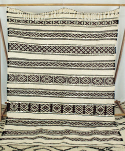 Maslouhi Original Area Rug/Throw- Large Black, White and Maroon with Sequins