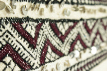 Load image into Gallery viewer, Maslouhi Original Area Rug/Throw- Large Black, White and Maroon with Sequins