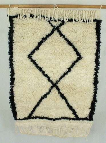 Maslouhi Original Accent Rug- Cream with Large Diamond Pattern