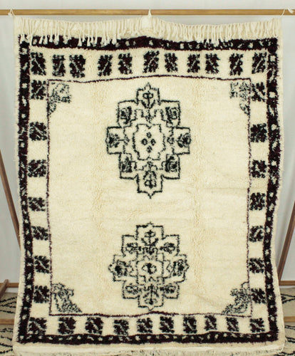 Maslouhi Original Area Rug- White, Blue, Black Dual Symbol Centered Design