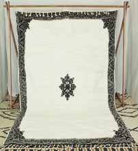 Load image into Gallery viewer, Maslouhi Original Area Rug- White, Blue, Black with Center Star Design