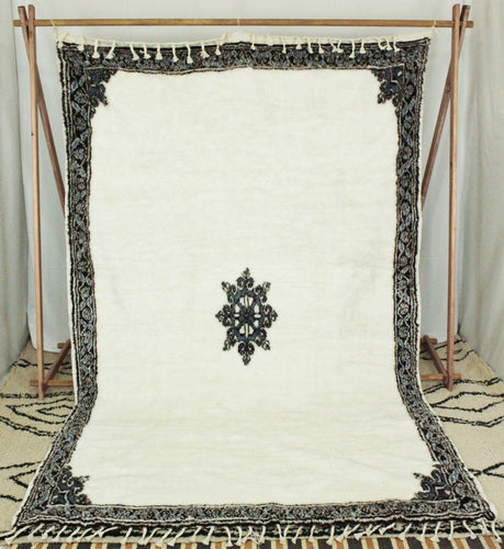 Maslouhi Original Area Rug- White, Blue, Black with Center Star Design