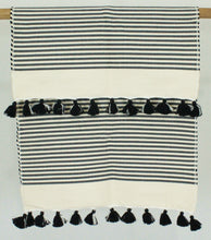 Load image into Gallery viewer, Bath Rug- Black Stripe with Pom Pom