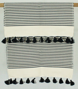 Bath Rug- Black Stripe with Pom Pom