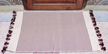 Load image into Gallery viewer, Bath Rug- Maroon Stripe with Pom Pom